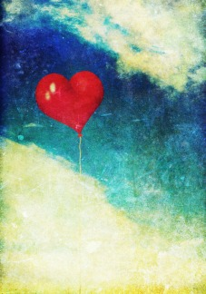 Vintage photo of red heart balloon in the sky © Melinda Nagy - Fotolia
