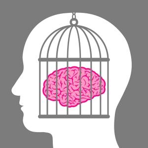 Caged brain inside a male head
