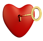 small heart and key