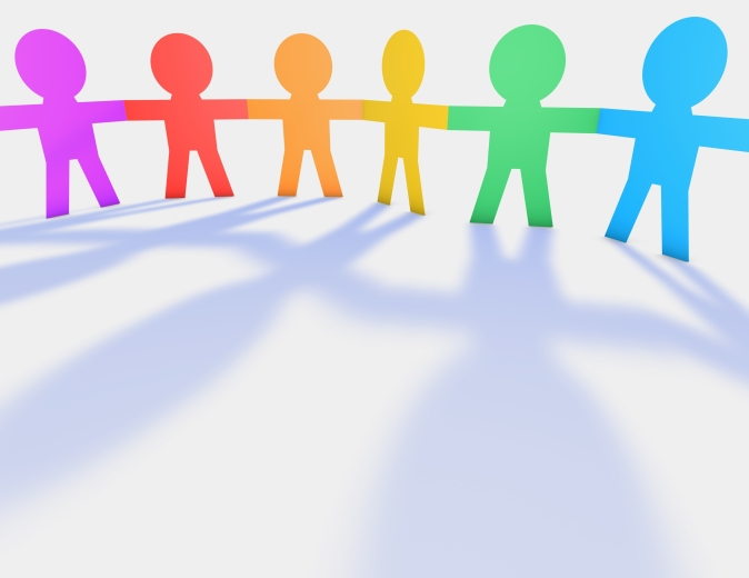 Colorful Child's Handing Hands, Cartoon People Silhouettes 3D Il
