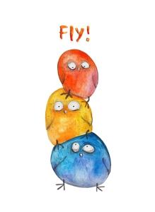 3 birds pyramid. Watercolor