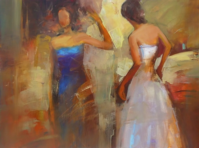 Female figures handmade oil painting on canvas