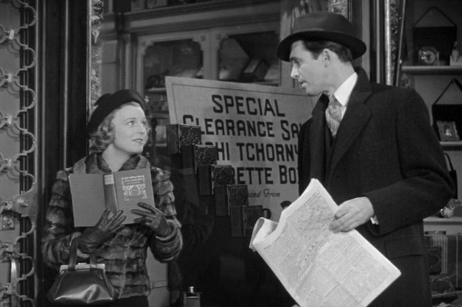 The Shop Around the Corner starring Margaret Sullavan and James Stewart